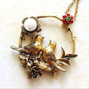 Antique Gold Love Bird Faux Pearl Crystal Necklace